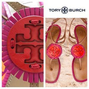 Tory Burch MILLER Fringe Flat Sandal. Size 6M